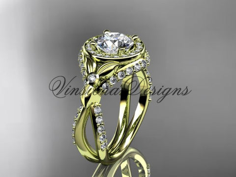 14k yellow gold leaf and vine, flower engagement ring, VD10065 - Vinsiena Designs