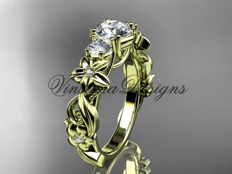 "14k yellow gold Three stone engagement ring,""Forever One"" Moissanite VD10066 - Vinsiena Designs"