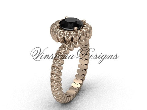 14kt rose gold engagement ring, Black Diamond VD1006