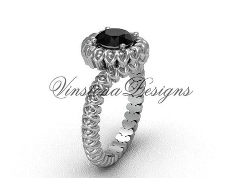 14k white gold engagement ring, Black Diamond VD1006