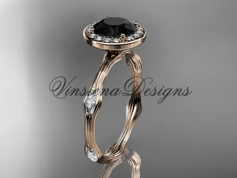 14k rose gold leaf and vine engagement ring, Black Diamond VD10075 - Vinsiena Designs