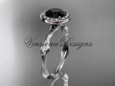 14k white gold leaf and vine engagement ring, Black Diamond VD10075
