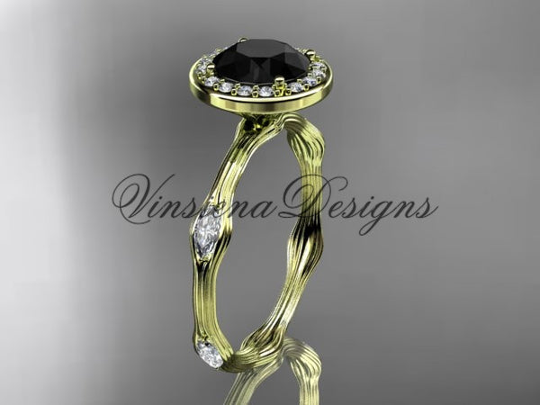 14k yellow gold leaf and vine engagement ring, Black Diamond VD10075 - Vinsiena Designs