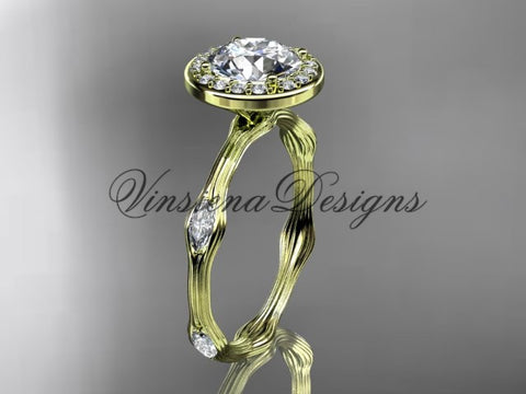 "14k yellow gold leaf and vine engagement ring, ""Forever One"" Moissanite VD10075 - Vinsiena Designs"