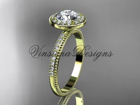 "14k yellow gold engagement ring ""Forever One"" Moissanite VD10077 - Vinsiena Designs"