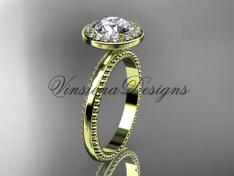 "14k yellow gold engagement ring ""Forever One"" Moissanite VD10078 - Vinsiena Designs"