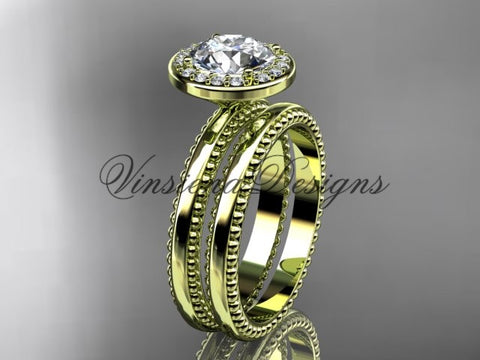 "14k yellow gold engagement ring, wedding set ""Forever One"" Moissanite VD10078S - Vinsiena Designs"