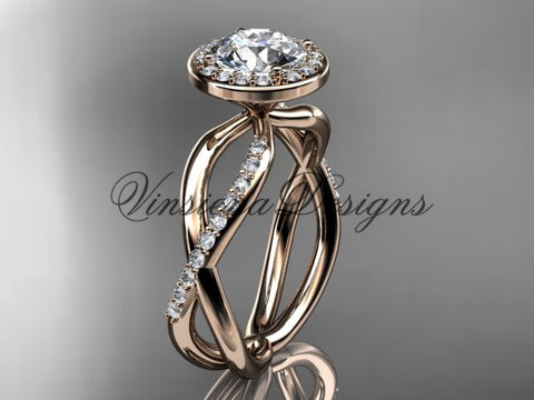 14k rose gold diamond engagement ring VD10079 - Vinsiena Designs