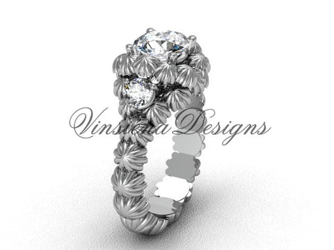 "Platinum Three stone engagement ring, ""Forever One"" Moissanite VD1007 - Vinsiena Designs"