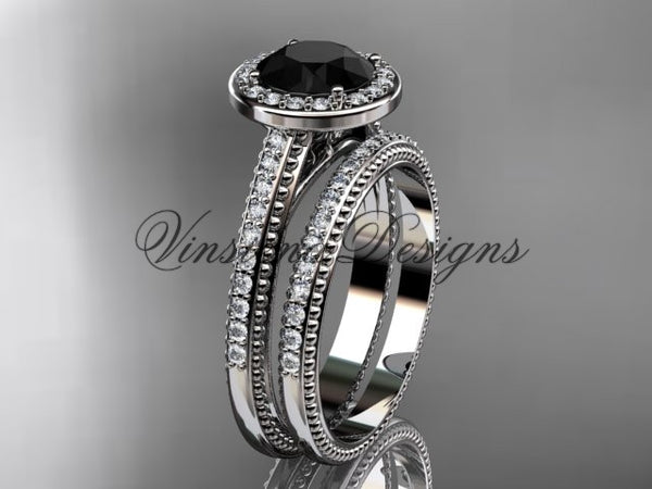 Unique 14k white gold diamond engagement ring, engagement set, Black Diamond VD10080S - Vinsiena Designs