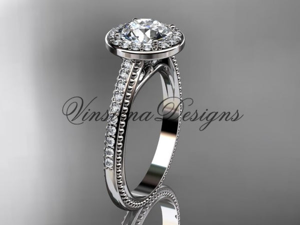 Unique Platinum diamond engagement ring VD10080 - Vinsiena Designs