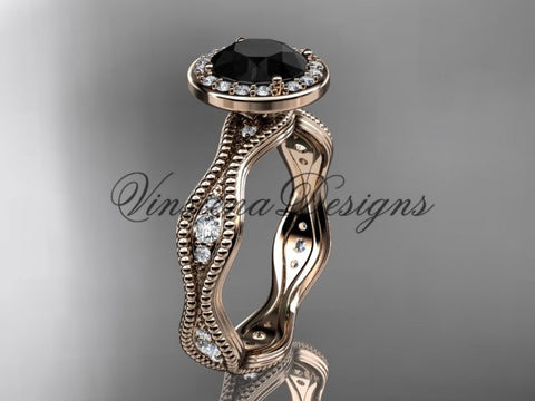 14k rose gold diamond engagement ring, Black Diamond VD10081 - Vinsiena Designs
