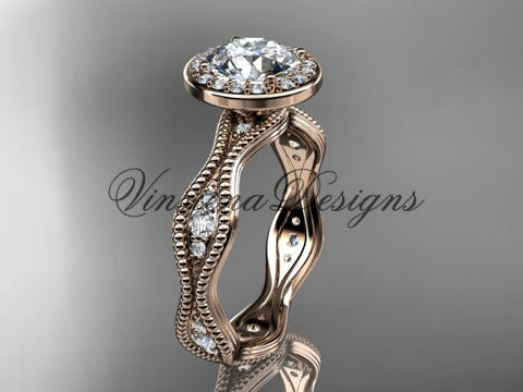 "14k rose gold diamond engagement ring, ""Forever One"" Moissanite VD10081 - Vinsiena Designs"