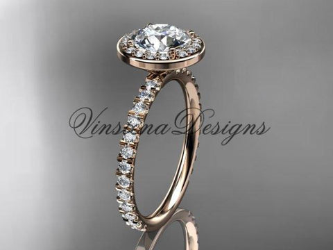 "14k rose gold diamond engagement ring ""Forever One"" Moissanite VD10082 - Vinsiena Designs"