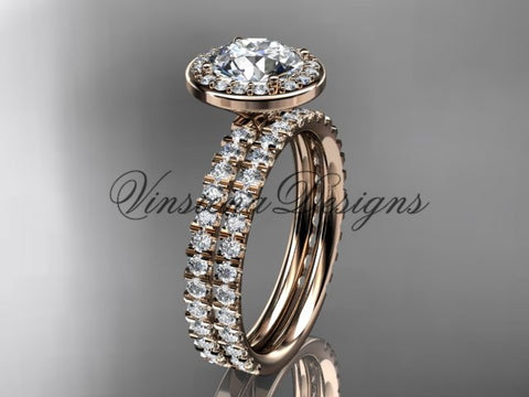 "14k rose gold diamond engagement ring, wedding band, engagement set, ""Forever One"" Moissanite VD10082S"