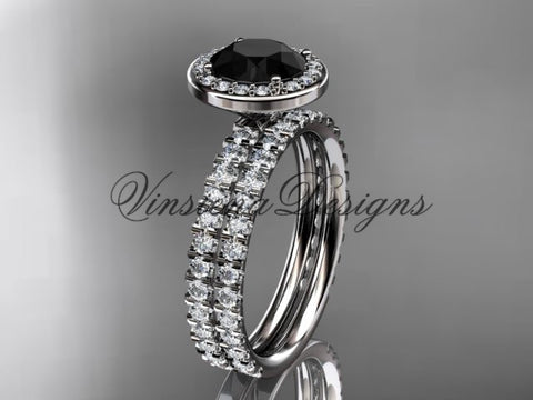 14k white gold diamond engagement ring, wedding band, engagement set, Black Diamond VD10082S