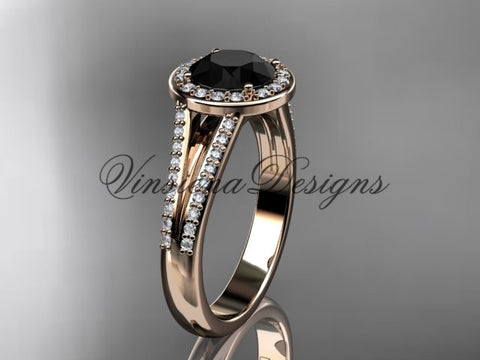 14k rose gold diamond engagement ring, Black Diamond VD10083 - Vinsiena Designs