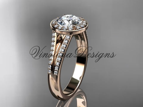 "14k rose gold diamond engagement ring, ""Forever One"" Moissanite VD10083 - Vinsiena Designs"