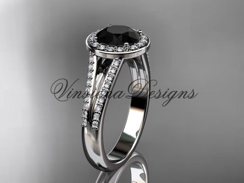 14k white gold diamond engagement ring, Black Diamond VD10083