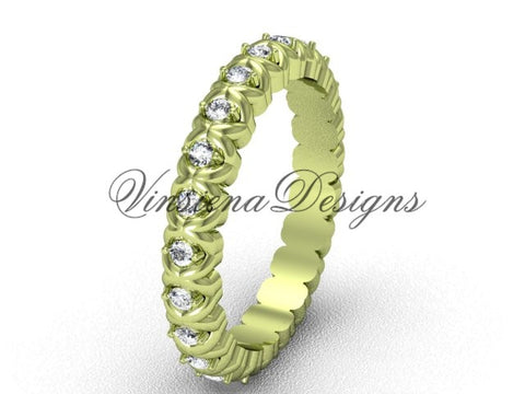 Unique 14kt yellow gold diamond wedding band VD1009 - Vinsiena Designs
