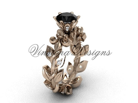 14k rose gold diamond leaf and vine, Fleur de Lis, Black Diamond engagement ring VD208124