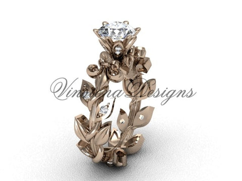 14k rose gold diamond leaf and vine, Fleur de Lis engagement ring VD208124