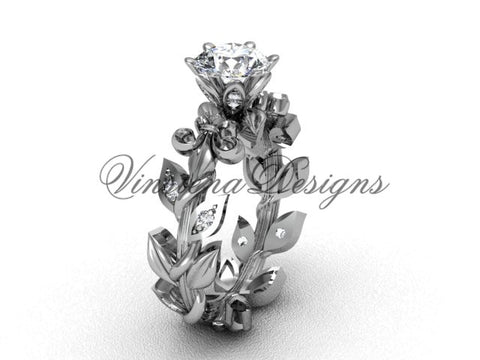 "14k white gold diamond leaf and vine, Fleur de Lis, ""Forever One"" Moissanite engagement ring VD208124"