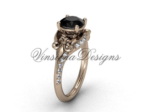 14kt rose gold diamond Fleur de Lis, eternity, Black Diamond engagement ring VD208125