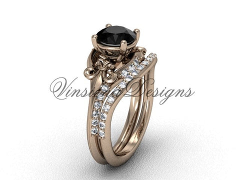 14kt rose gold diamond Fleur de Lis, wedding band, enhanced Black Diamond engagement set VD208125S