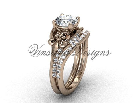 "14kt rose gold diamond Fleur de Lis, wedding band, engagement ring, ""Forever One"" Moissanite engagement set VD208125S"