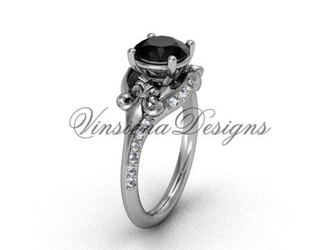 14kt white gold diamond Fleur de Lis, eternity, Black Diamond engagement ring VD208125 - Vinsiena Designs