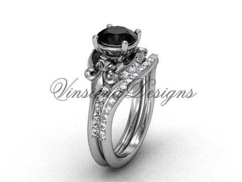 14kt white gold diamond Fleur de Lis, wedding band, engagement ring, enhanced Black Diamond engagement set VD208125S - Vinsiena Designs