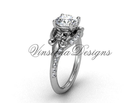 14kt white gold diamond Fleur de Lis, eternity, One Moissanite engagement ring VD208125 - Vinsiena Designs