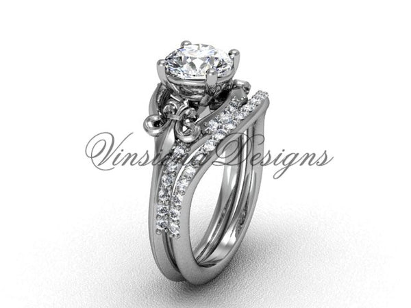 "14kt white gold diamond Fleur de Lis, wedding band, eternity engagement ring, ""Forever One"" Moissanite engagement set VD208125S - Vinsiena Designs"