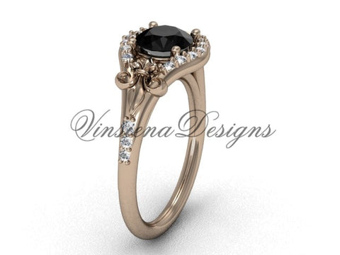 14kt rose gold diamond Fleur de Lis, eternity, enhanced Black Diamond engagement ring VD208126