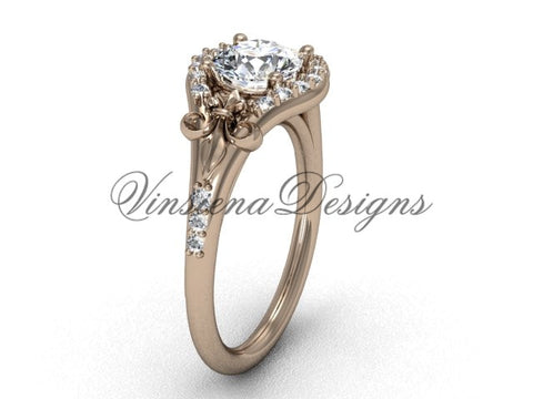 14kt rose gold diamond Fleur de Lis, eternity engagement ring, One Moissanite  VD208126