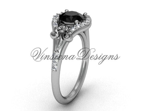 14kt white gold diamond Fleur de Lis, eternity, enhanced Black Diamond engagement ring VD208126 - Vinsiena Designs