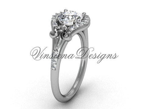 14kt white gold diamond Fleur de Lis, eternity, One Moissanite engagement ring VD208126 - Vinsiena Designs