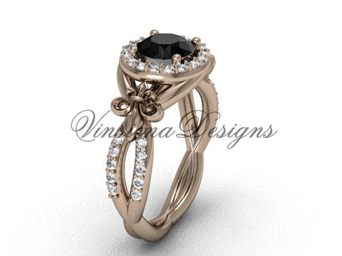 14kt rose gold diamond Fleur de Lis, halo, eternity engagement ring, enhanced Black Diamond VD208127