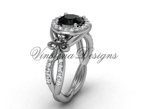 14kt white gold diamond Fleur de Lis, halo, eternity engagement ring, enhanced Black Diamond VD208127 - Vinsiena Designs