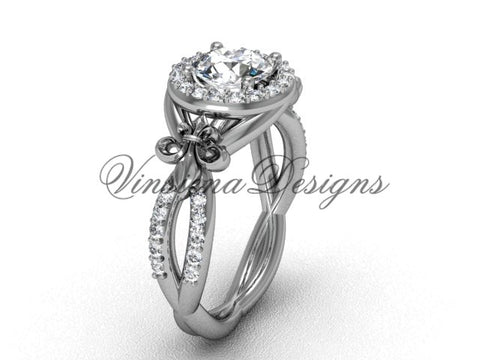 14kt white gold diamond Fleur de Lis, halo, eternity engagement ring, One Moissanite VD208127 - Vinsiena Designs