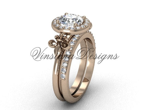 14kt rose gold diamond, halo ring, Fleur de Lis engagement ring, wedding set, One Moissanite VD208129S