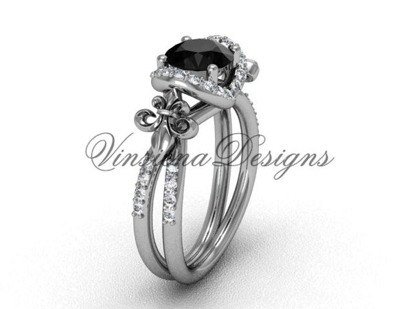 14kt white gold diamond Fleur de Lis, halo, eternity engagement ring, enhanced Black Diamond VD208140 - Vinsiena Designs