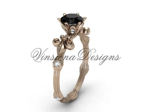 14kt rose gold diamond leaf and vine, enhanced Black Diamond engagement ring VD20838
