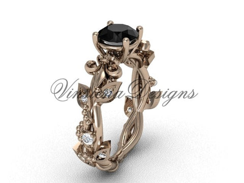 14kt rose gold diamond leaf and vine, Fleur de Lis, enhanced Black Diamond engagement ring VD20859