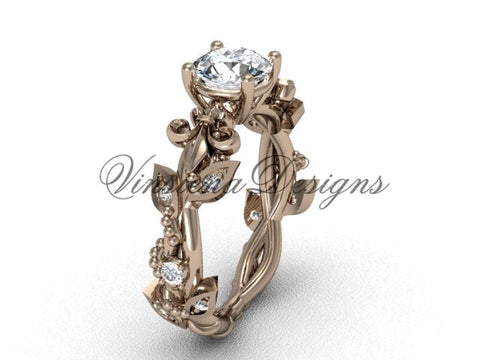 14k rose gold diamond leaf and vine, Fleur de Lis engagement ring VD20859