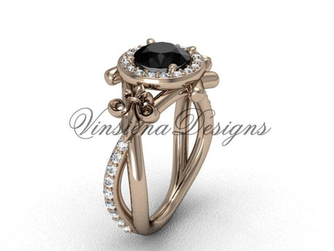 14kt rose gold diamond Fleur de Lis, halo, eternity, Black Diamond engagement ring VD20889