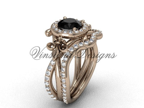 14kt rose gold diamond Fleur de Lis, halo engagement ring, wedding band, Black Diamond engagement set VD20889S