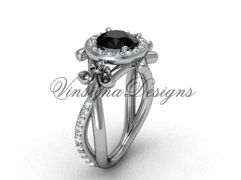 14kt white gold diamond Fleur de Lis, halo, eternity, Black Diamond engagement ring VD20889 - Vinsiena Designs