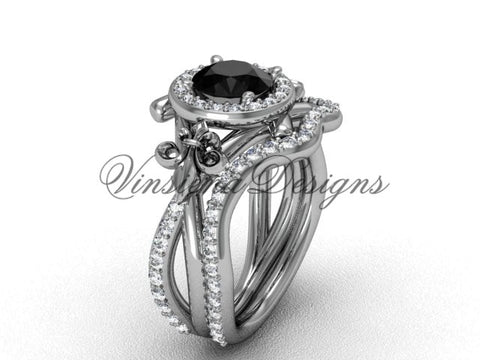 14kt white gold diamond Fleur de Lis, halo engagement ring, wedding band, Black Diamond engagement set VD20889S - Vinsiena Designs